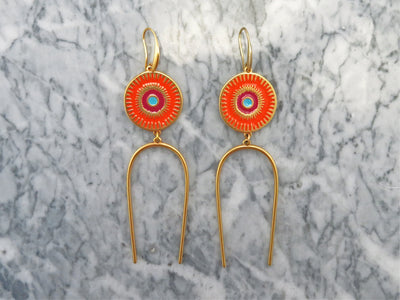 Orange Deity Earrings
