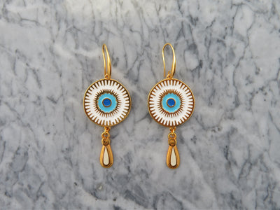 Small White Deity Earrings