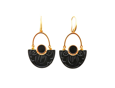 Black Nymphaea Lotus Earrings