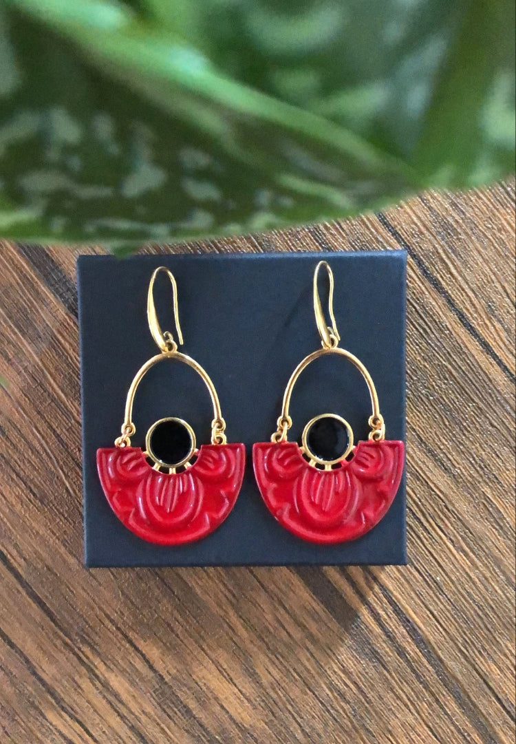 Scarlet Nymphaea Lotus Earrings