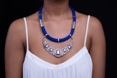Blue Athena Necklace Silver