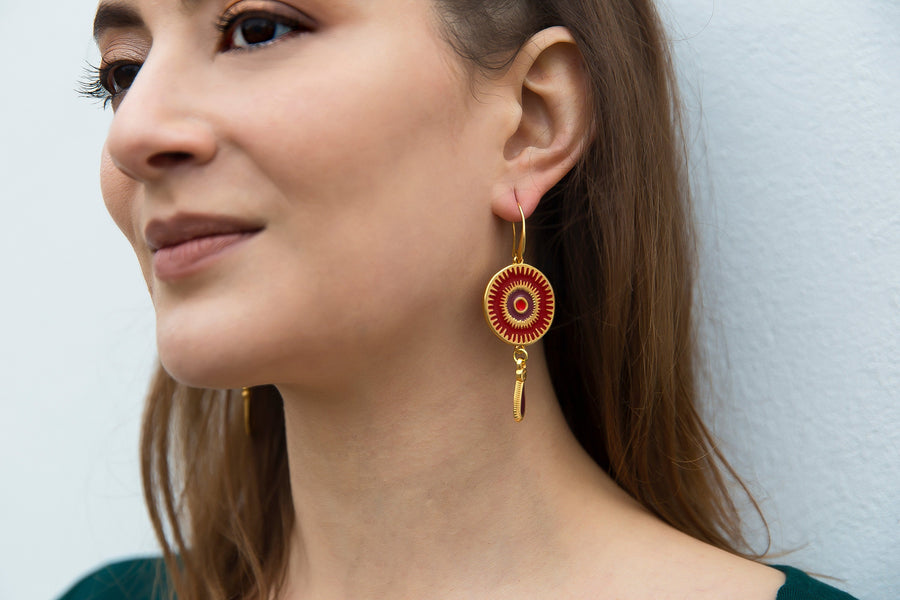 Small Red Deity Earrings