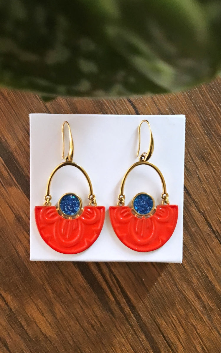 Neon Orange Nymphaea Lotus earrings