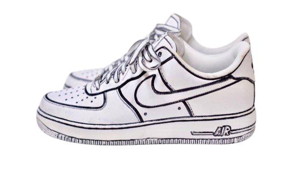 Nike Air Force 1- Custom- White & Black - DANDY CUSTOM SHOP