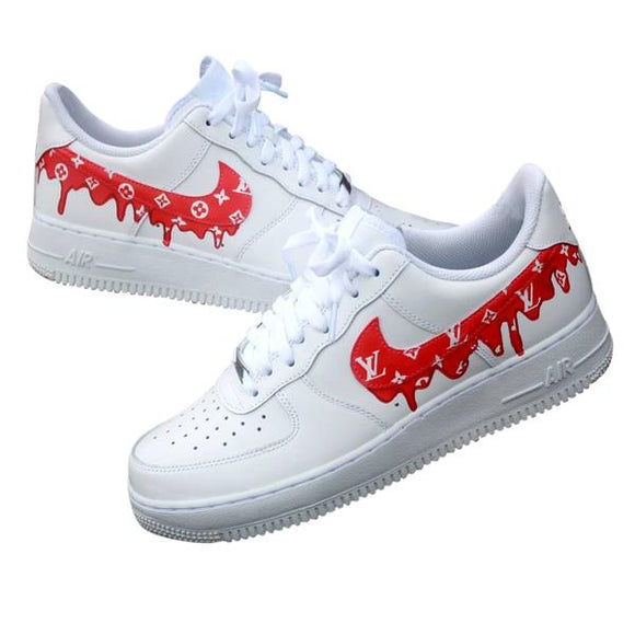 Nike Air Force 1- Custom- LV Drip Red - DANDY CUSTOM SHOP