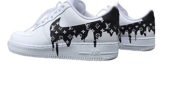 Nike Air Force 1- Custom- LV Drip Black - DANDY CUSTOM SHOP