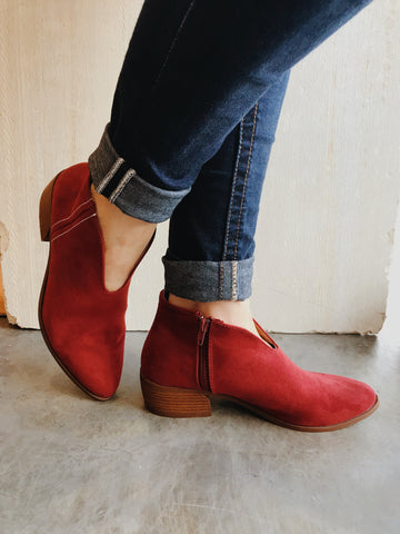 Red rager suede booties