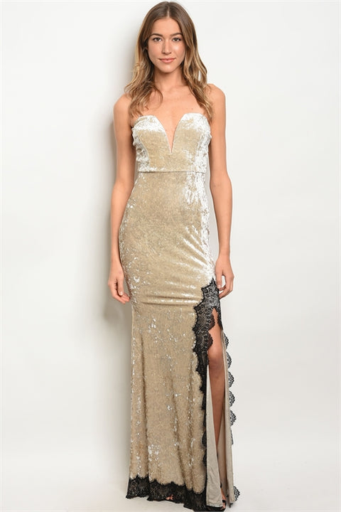Champagne Crushed Velvet Lace Gown