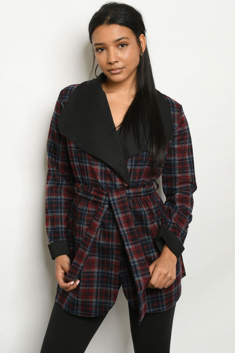 Back In Black And Burgundy Checkered Jacket