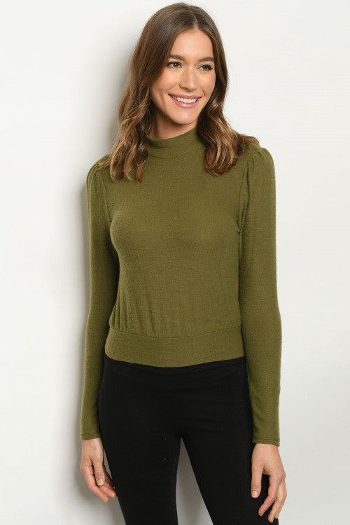 Olive And Soft Mock Turtle Neck Top