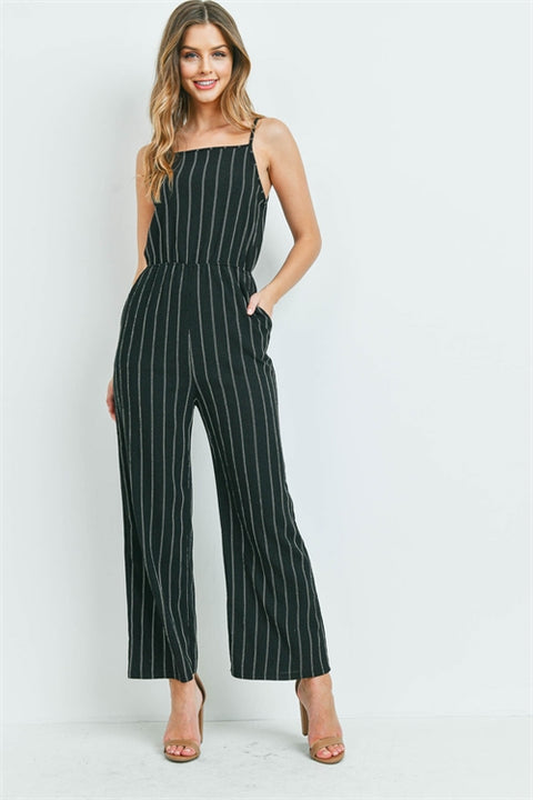 Jumpin Black With White Stripes Jumpsuit