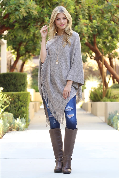 Light Brown Tasseled Poncho