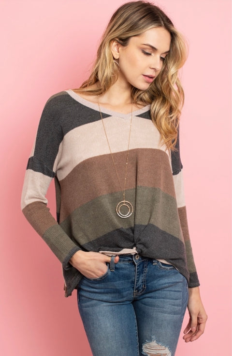 Color Blocked Knot Sweater