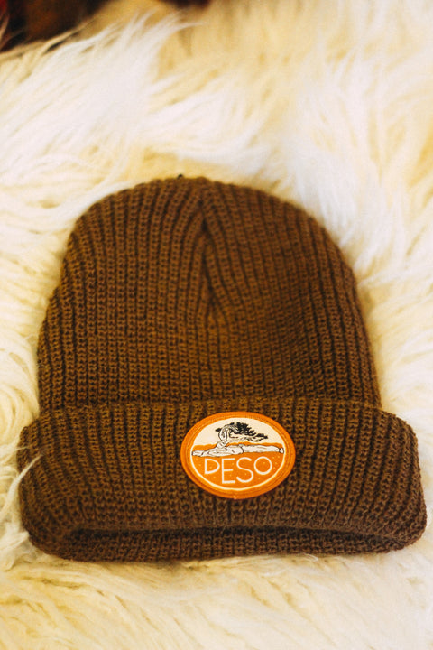 Bristlecone Heavy Knit Cuff Beanie in Canyon Brown