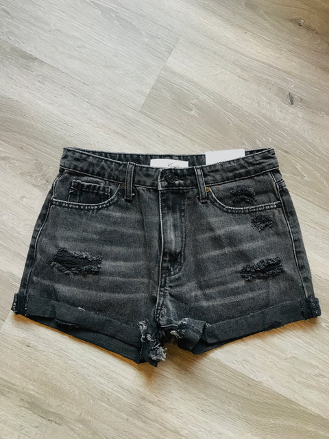 High Rise Frayed Hem Distressed Denim Shorts In Black