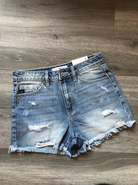 High Rise Light Wash Shorts