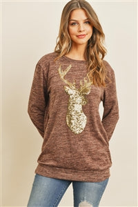 Brushed Mocha and Sequin Reindeer Top