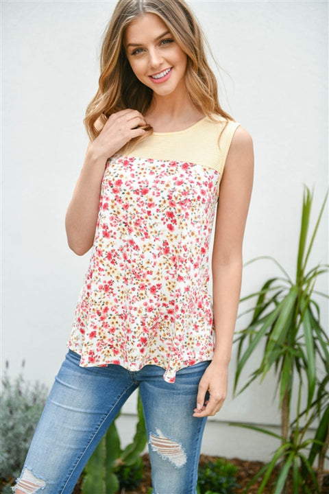 Feeling Sunshine Floral Print Sleeveless Top
