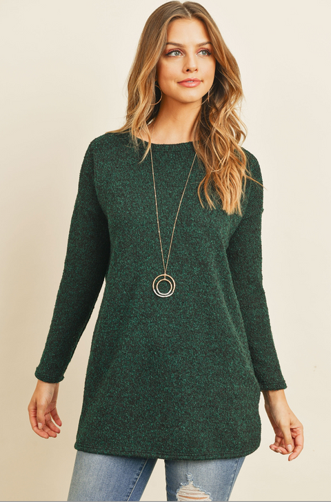 Long Sleeved Hunter Green Two Toned Tunic