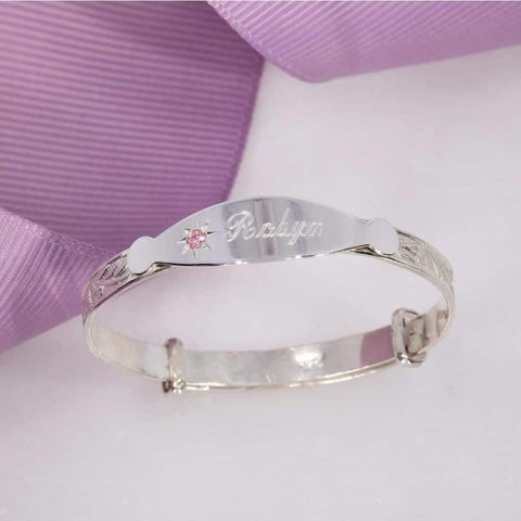 PINK Baby Bangle in Sterling Silver