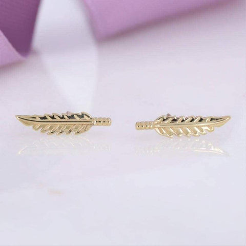 Feather Shaped Earrings in 9ct Gold