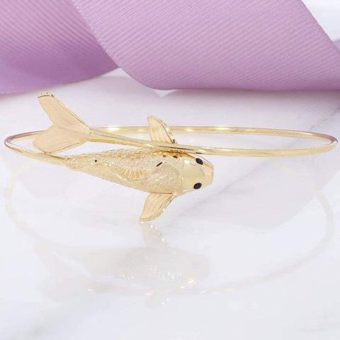 Fish Bangle in 9ct Gold