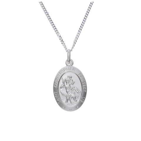 Oval Shaped St. Christopher Medal in Sterling Silver