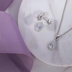 Pear Shaped CZ Necklace in Sterling Silver