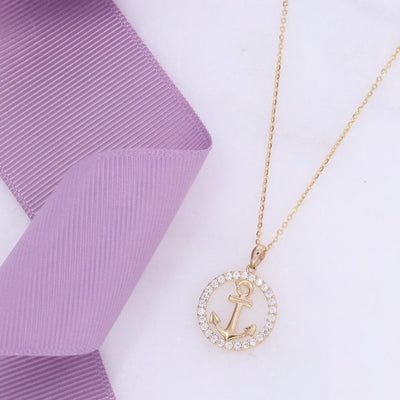 CZ Anchor Necklace | 9ct Gold