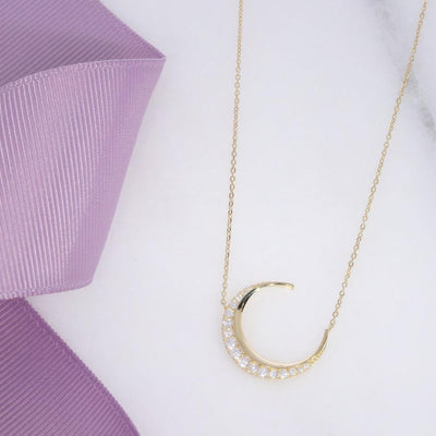 CZ Moon Necklace | 9ct Gold