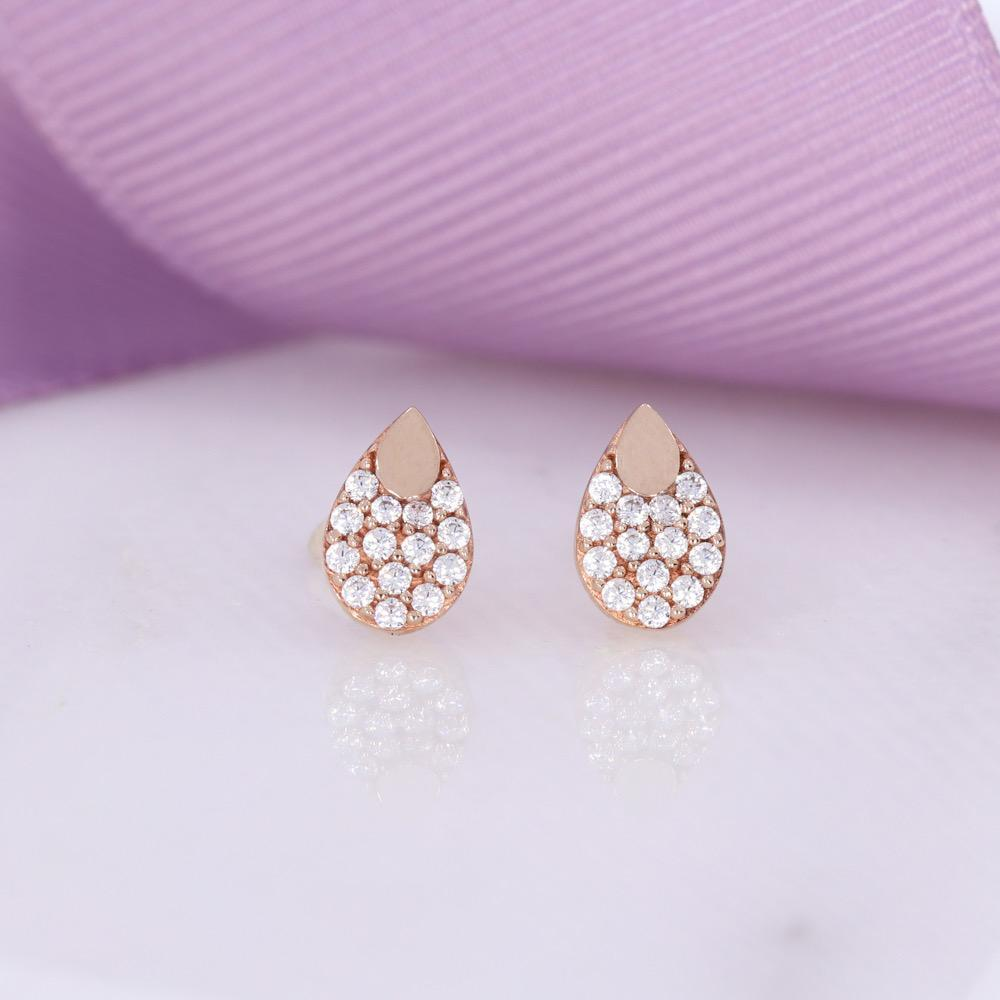 Pear CZ Stud Earrings | 9ct Rose Gold - Gear Jewellers Parnell Street Dublin