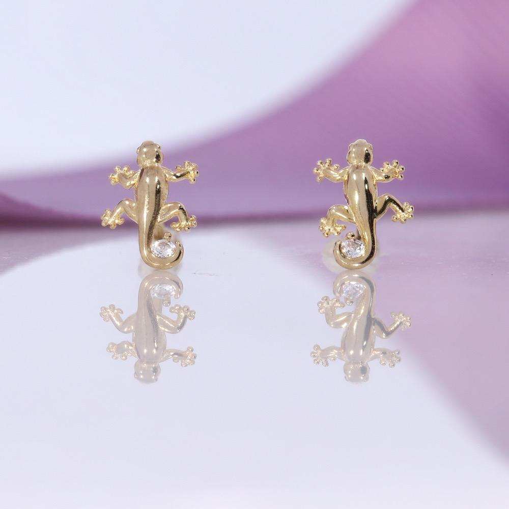 CZ Gecko Earrings | 9ct Gold - Gear Jewellers Parnell Street Dublin