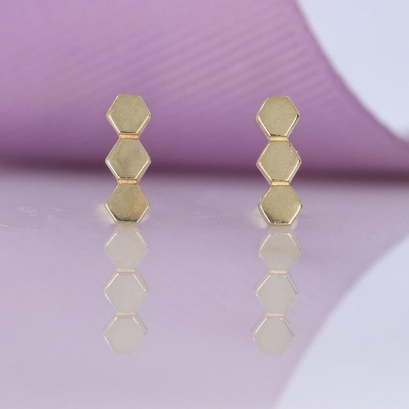 Bee Hive Earrings | 9ct Gold