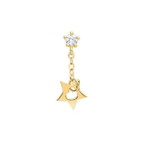 CZ Dangling Star Piercing | 9ct Gold - Gear Jewellers Parnell Street Dublin