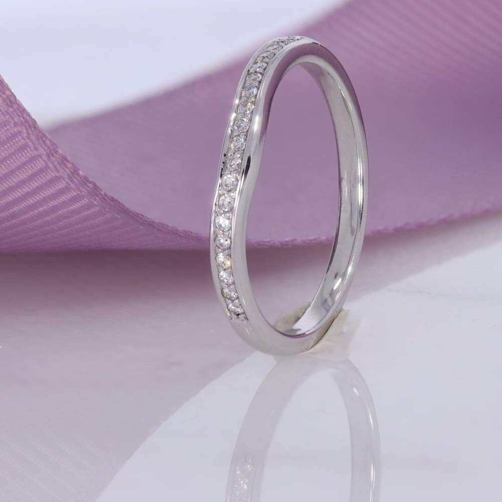 Curved Pave Diamond Wedding Ring | 18ct White Gold - Rings