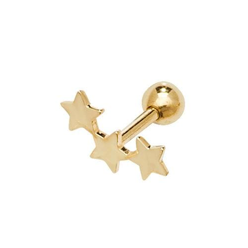 Triple Star Piercing | 9ct Gold - Gear Jewellers Parnell Street Dublin
