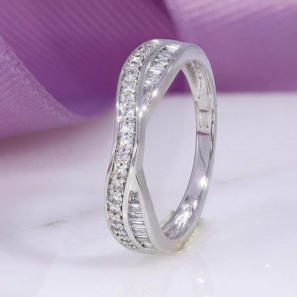 Round & Baguette Shaped Diamond Wedding Ring | 9ct White