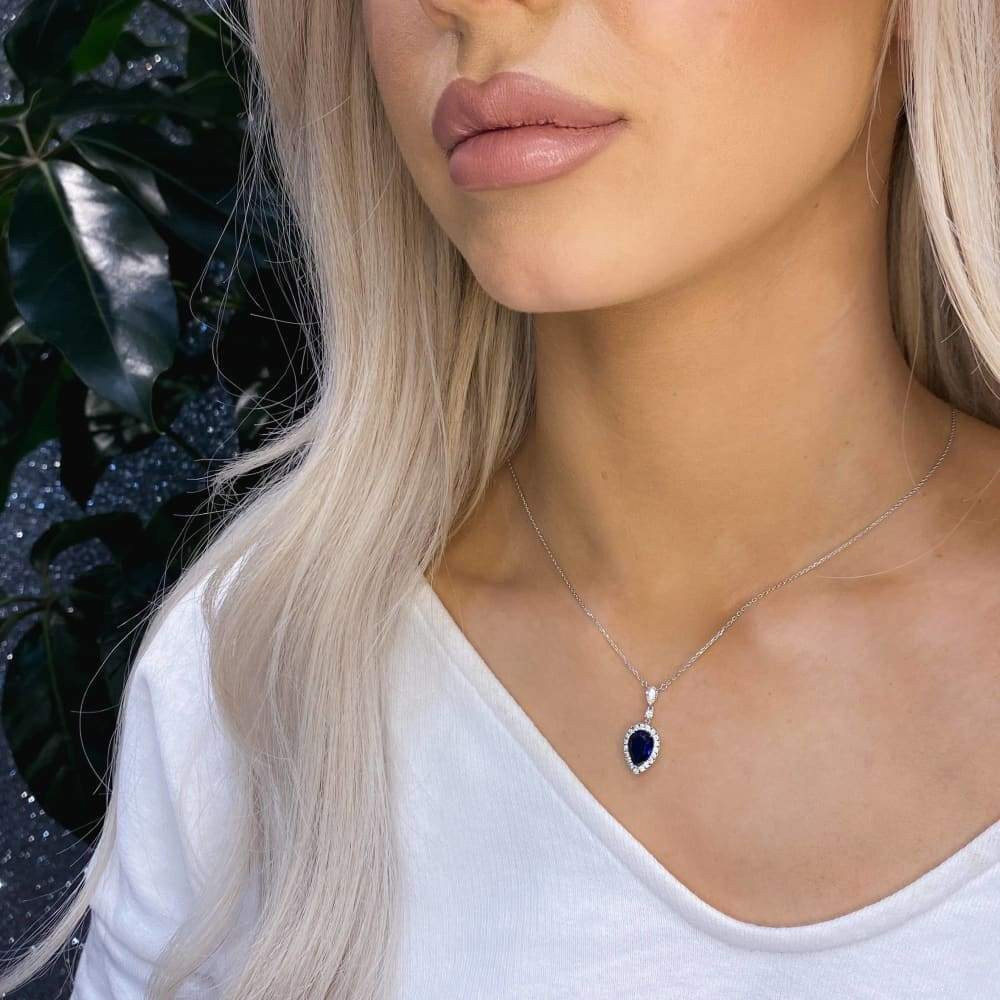 Midnight Blue Pear Drop Necklace | Sterling Silver