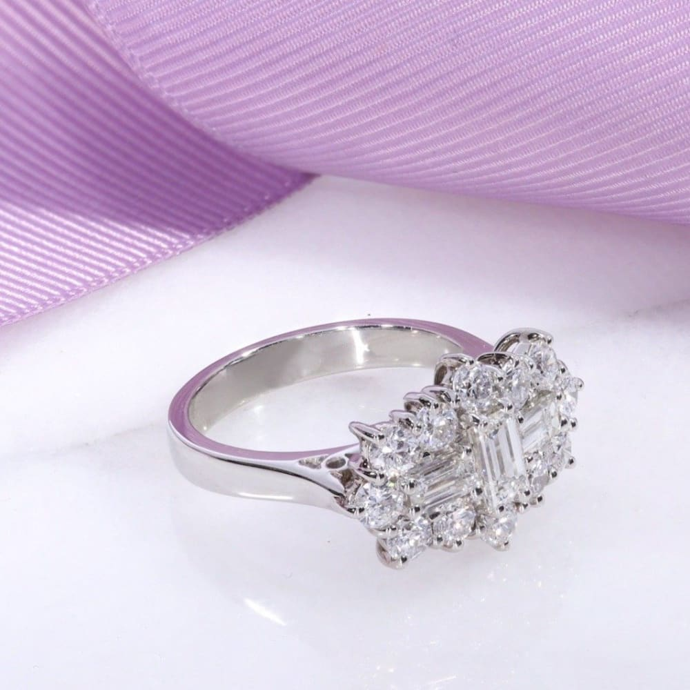 Platinum Boat Shape Diamond Engagement Ring Gear Jewellers