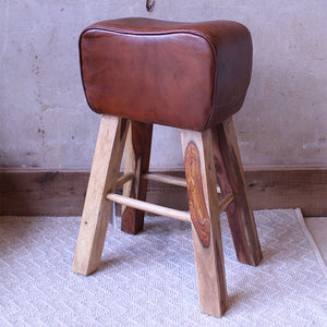 Leather Curved Stool