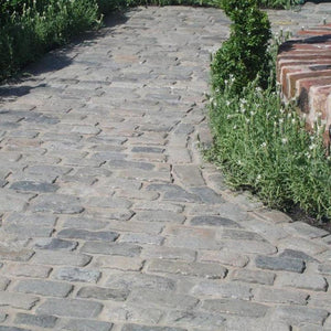 Reclaimed Granite Oblong Setts - Pathway in a coursed layout