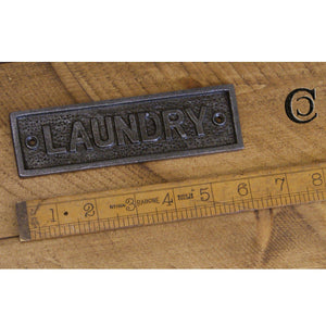 Plaque LAUNDRY Cast Ant Iron - South Planks, Barton, Reclaimed Wood, Home Interiors, Cafe