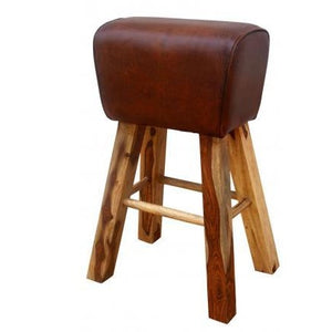 Tall Leather Pommel Horse Style Stool