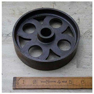 "Castor Wheel Industrial Cast Iron D150mm 1.5""W - South Planks, Barton, Reclaimed Wood, Home Interiors, Cafe"