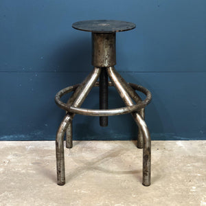 Polished Steel Stool - South Planks, Barton, Reclaimed Wood, Home Interiors, Cafe