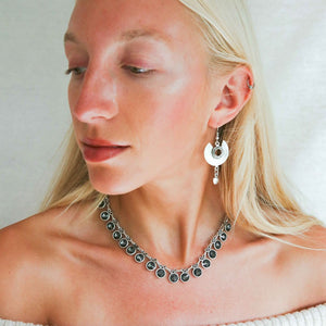 Aqua Crystal Necklace in Grey from Treaty