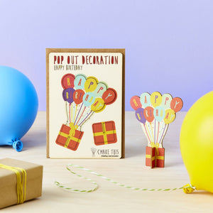Balloons Happy Birthday Pop Out Card