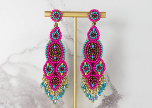 Long Beaded Drop Earrings - My Doris