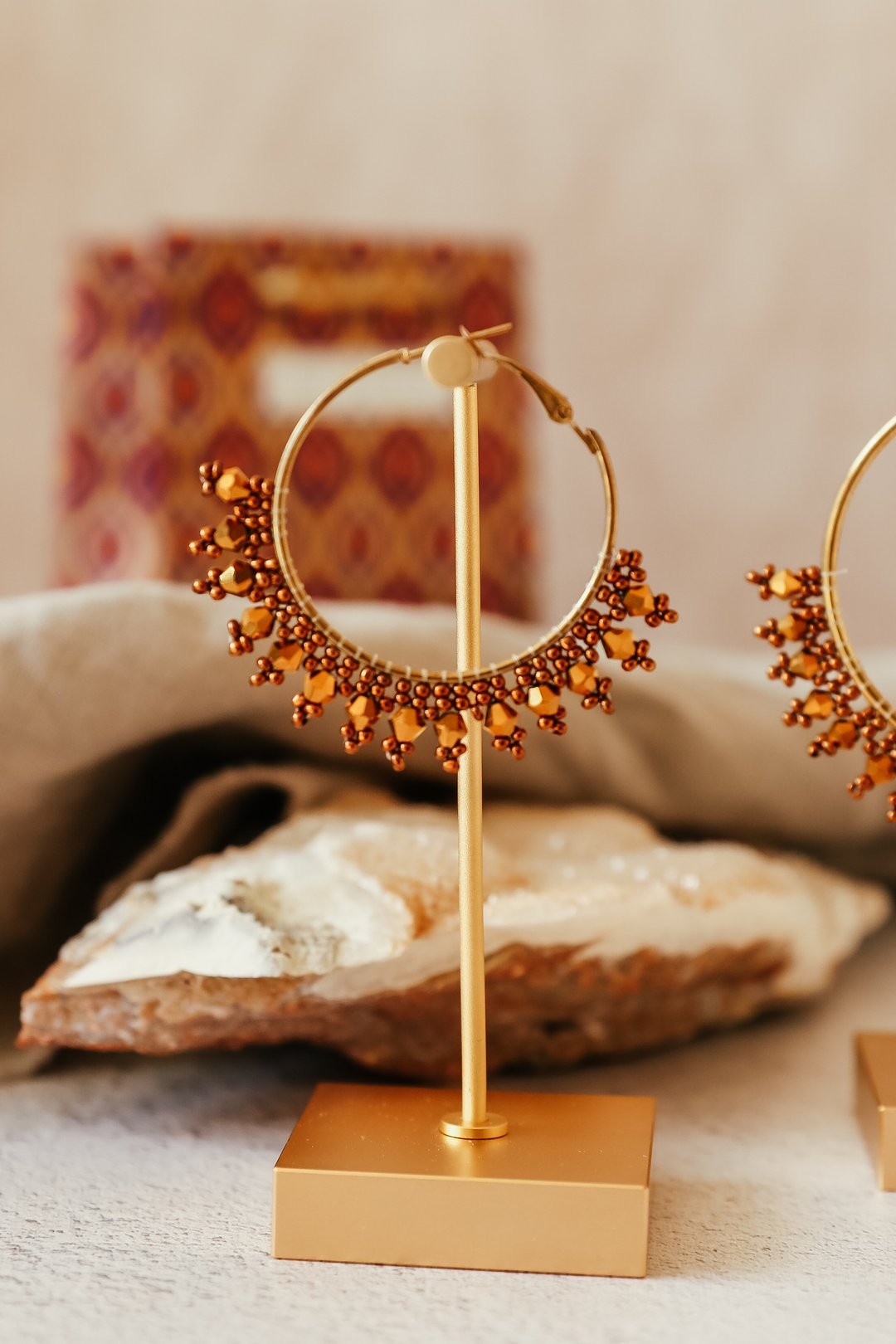 Small Beaded Gold Hoop