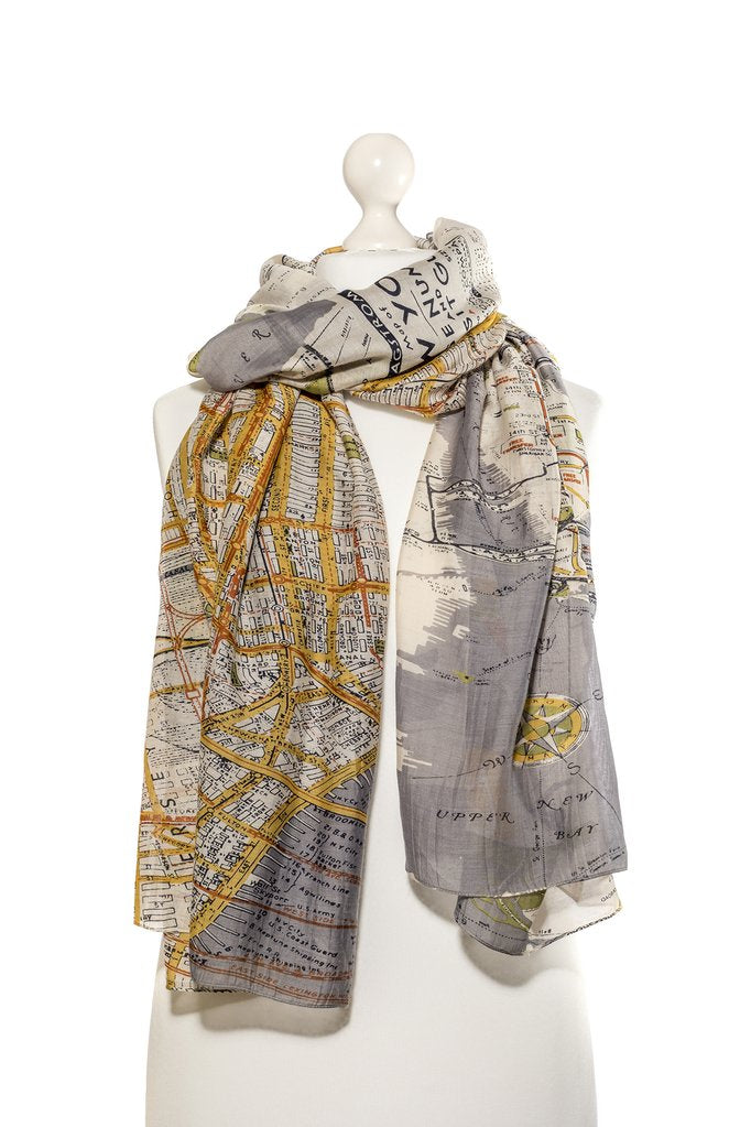 One Hundred Stars New York Map Scarf
